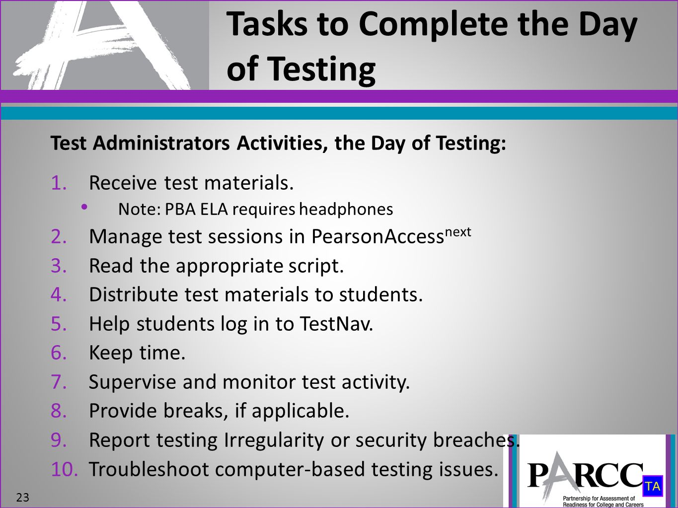Tasks to Complete the Day of Testing