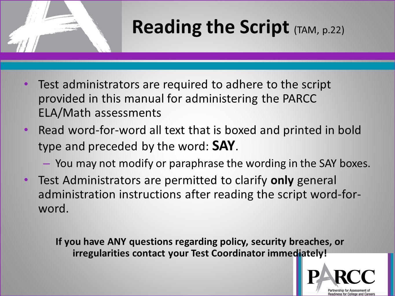 Reading the Script (TAM, p.22)