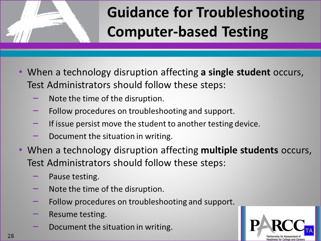 Guidance for Troubleshooting Computer-based Testing