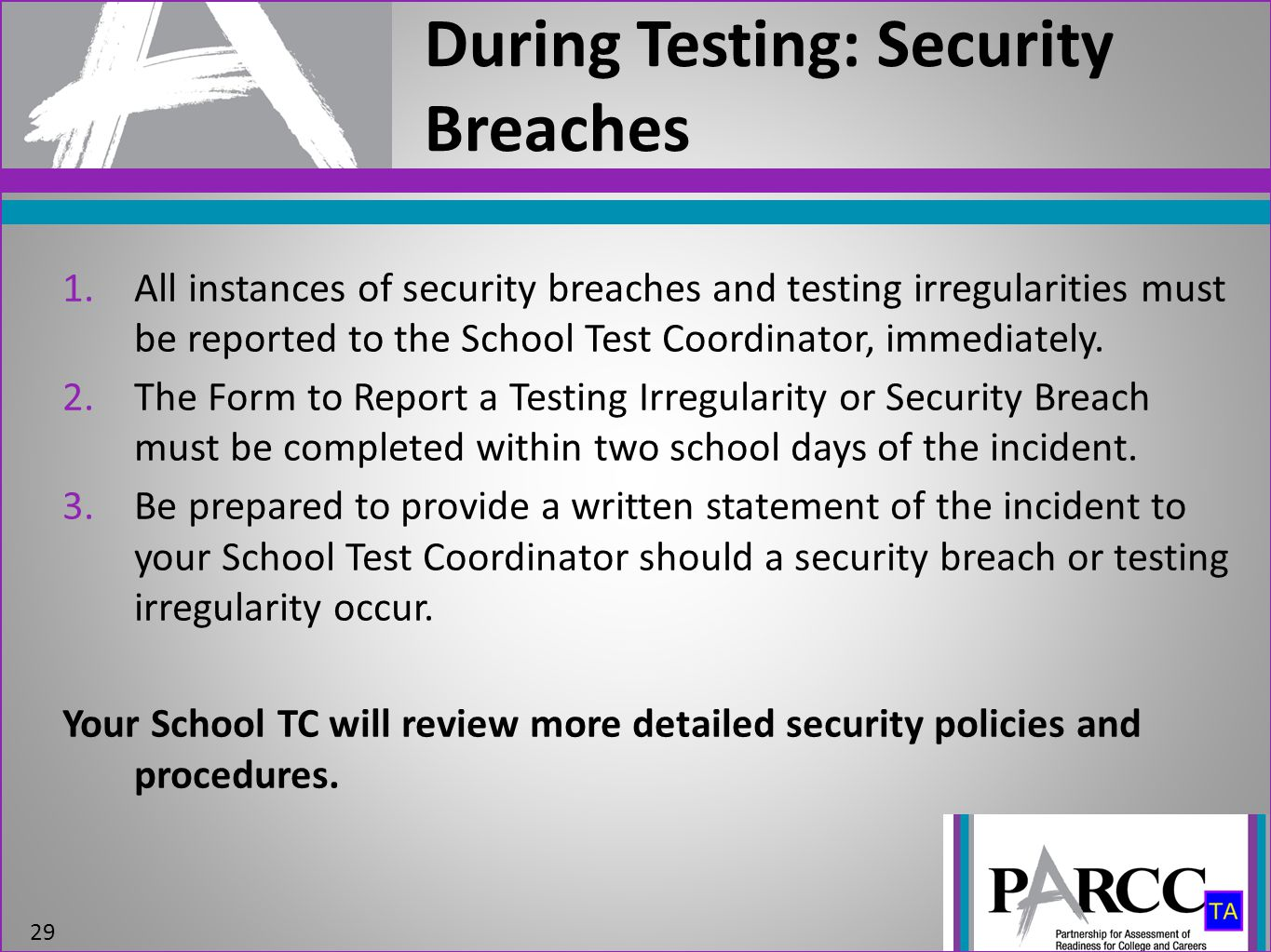 During Testing: Security Breaches