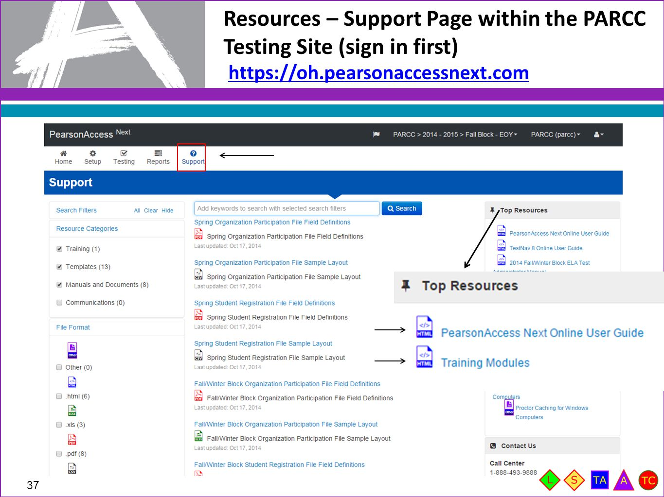 Resources – Support Page within the PARCC Testing Site (sign in first) https://oh.pearsonaccessnext.com