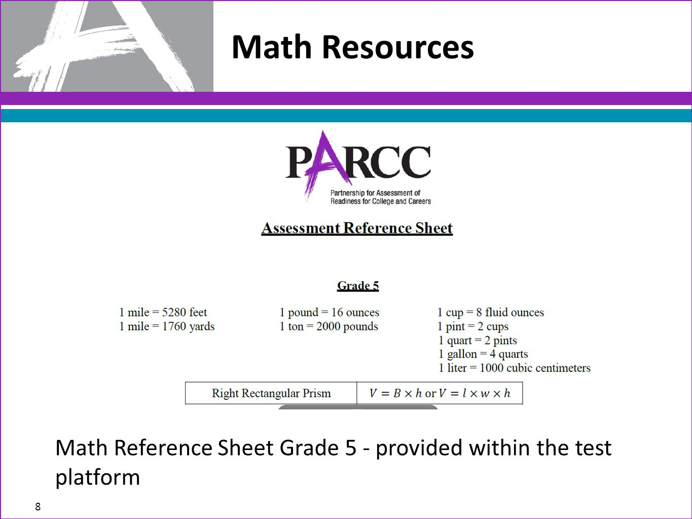 Math Resources Math Reference Sheet Grade 5 - provided within the test platform