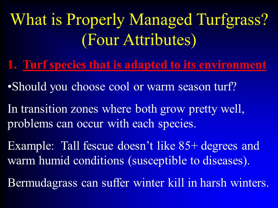 What is Properly Managed Turfgrass (Four Attributes)