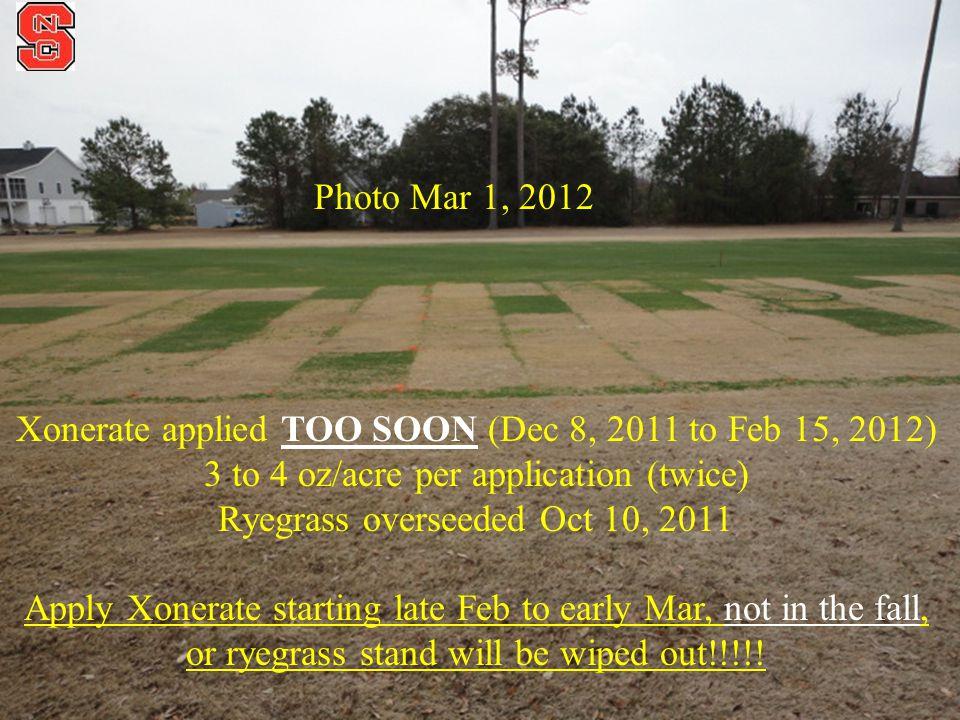 Xonerate applied TOO SOON (Dec 8, 2011 to Feb 15, 2012)