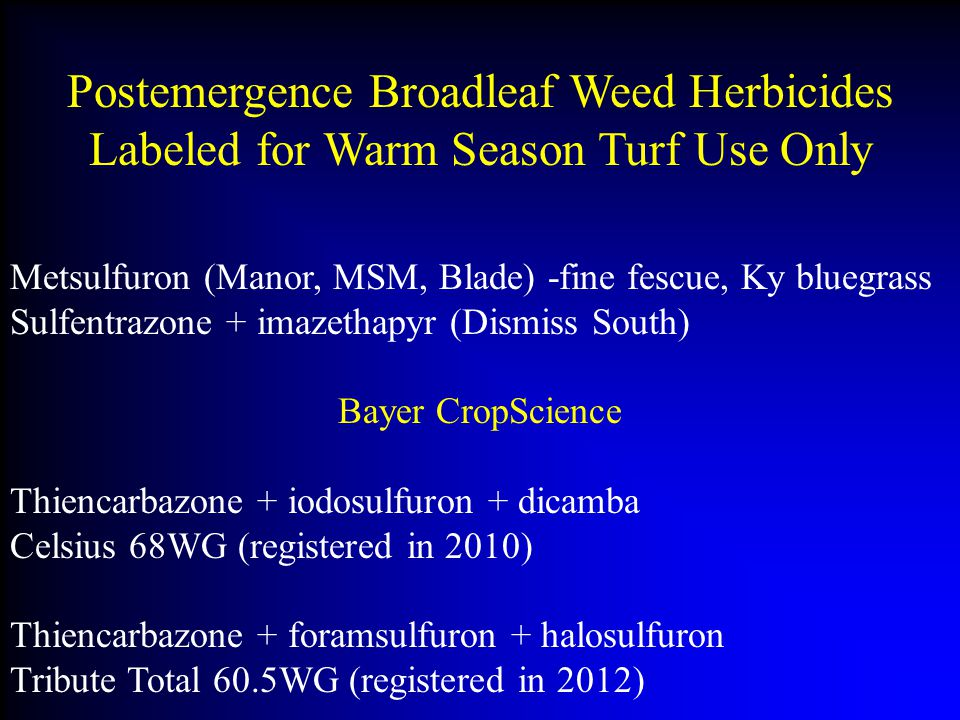 Postemergence Broadleaf Weed Herbicides Labeled for Warm Season Turf Use Only