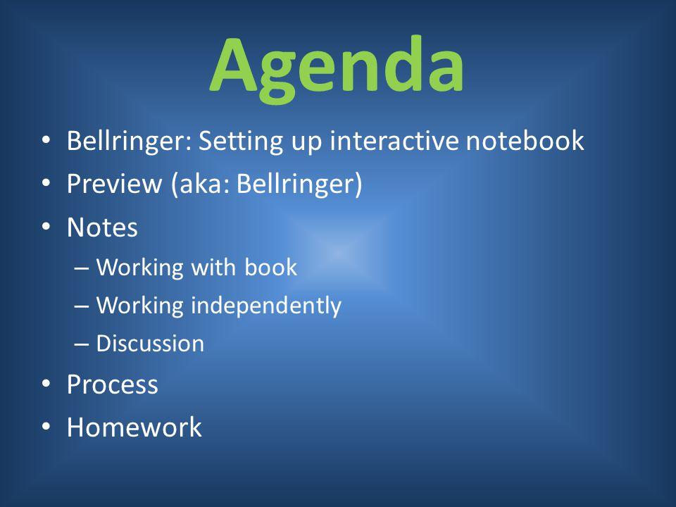 Agenda Bellringer: Setting up interactive notebook