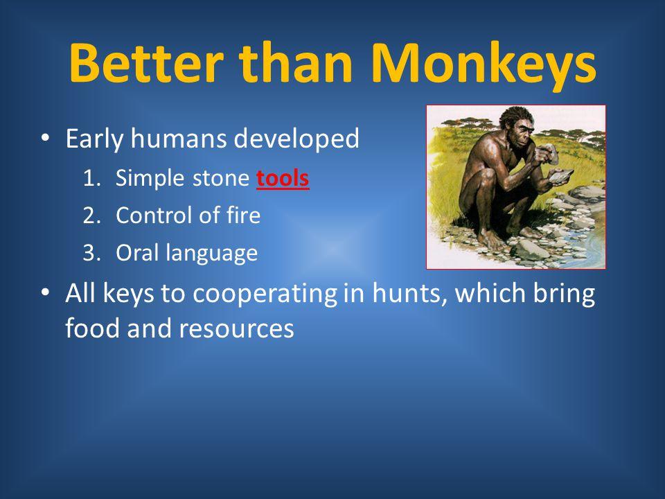Better than Monkeys Early humans developed