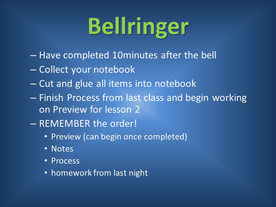 Bellringer Have completed 10minutes after the bell