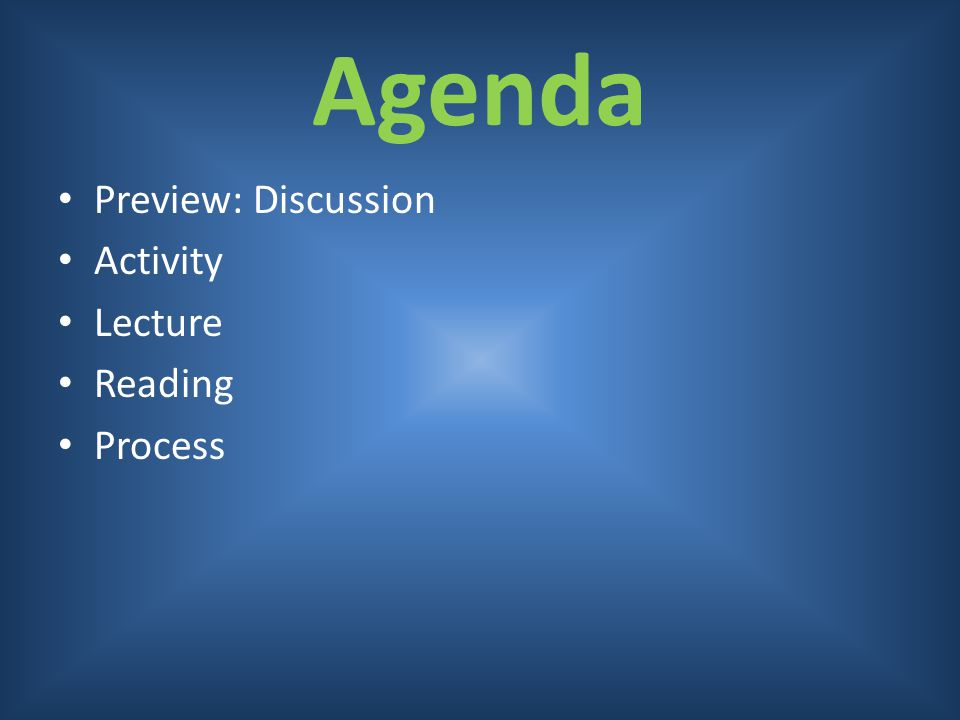 Agenda Preview: Discussion Activity Lecture Reading Process