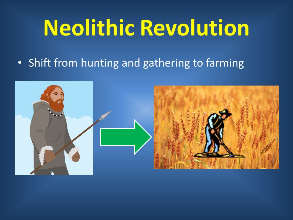 Neolithic Revolution Shift from hunting and gathering to farming
