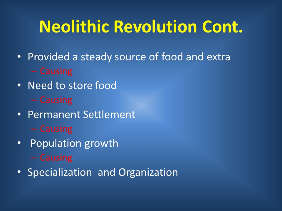 Neolithic Revolution Cont.