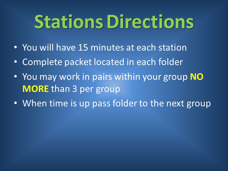 Stations Directions You will have 15 minutes at each station