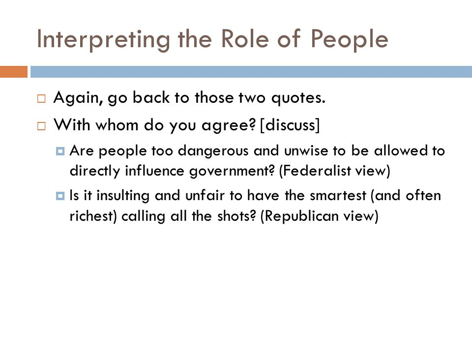 Interpreting the Role of People