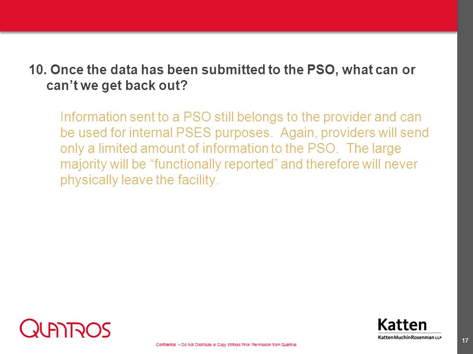 11. Can a provider use a PSO and/or PSO data to benchmark quality indicators