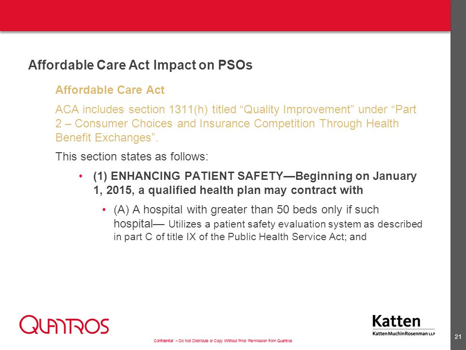 Affordable Care Act Impact on PSOs (cont'd)