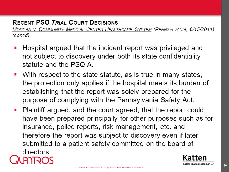 Recent PSO Trial Court Decisions Morgan v