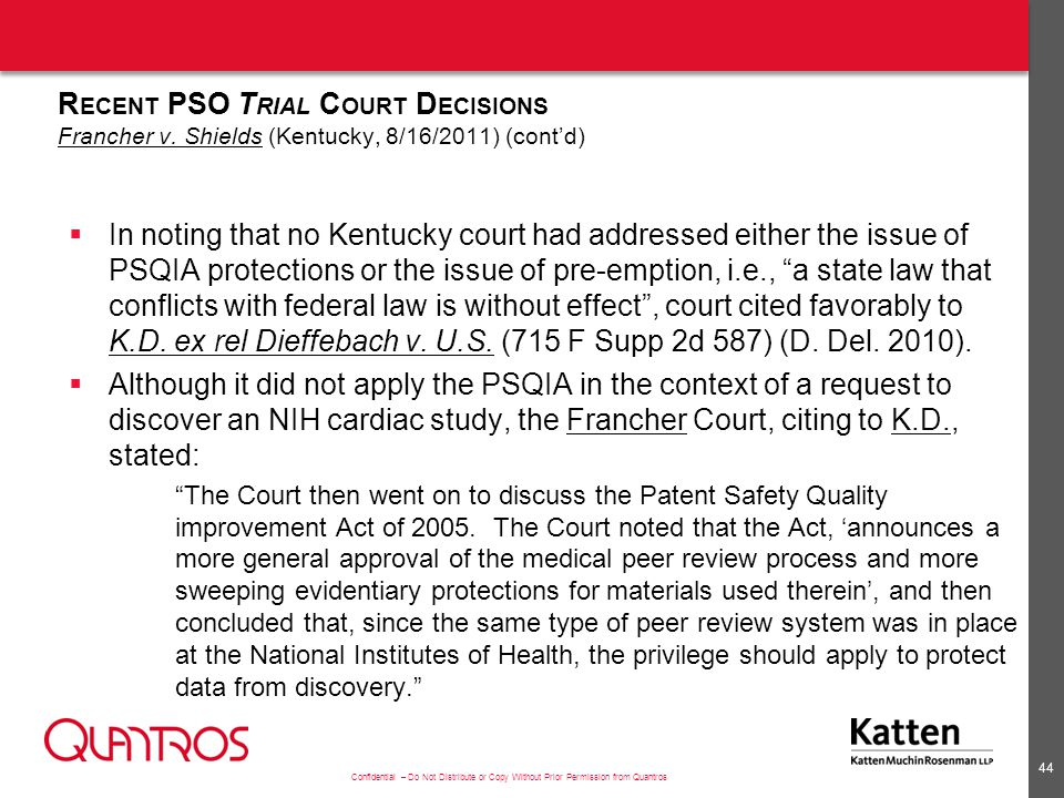Recent PSO Trial Court Decisions Francher v