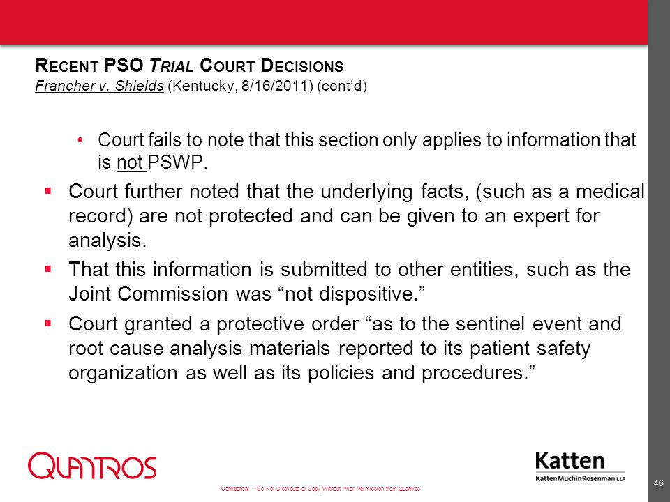 Recent PSO Trial Court Decisions Tibbs v. Bunnel; Norton v
