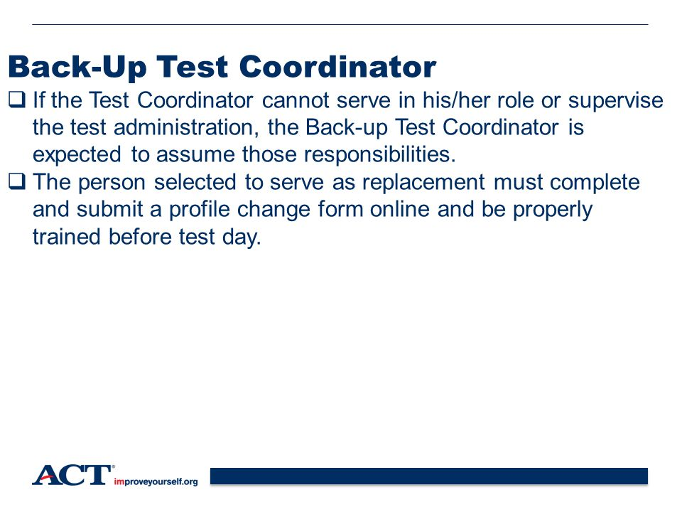 Back-Up Test Coordinator