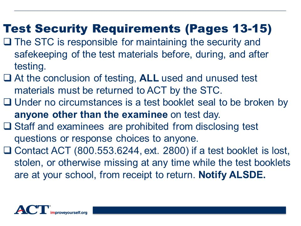 Test Security Requirements (Pages 13-15)