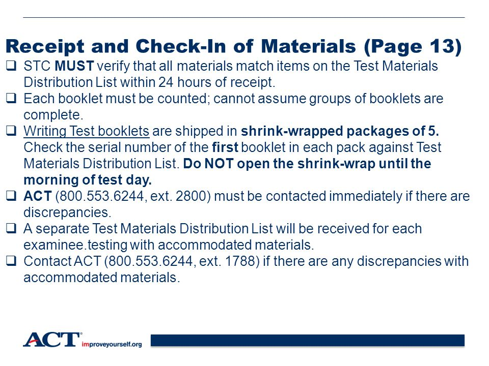 Receipt and Check-In of Materials (Page 13)