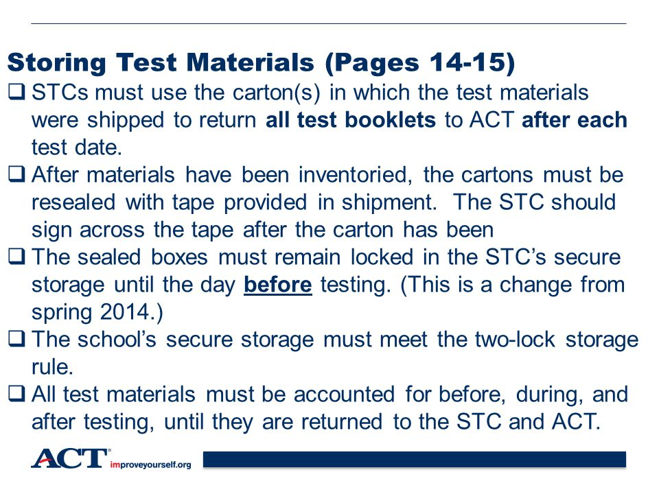 Storing Test Materials (Pages 14-15)