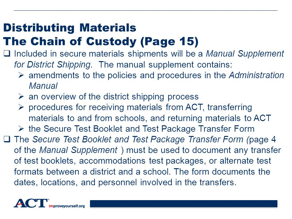 Distributing Materials The Chain of Custody (Page 15)
