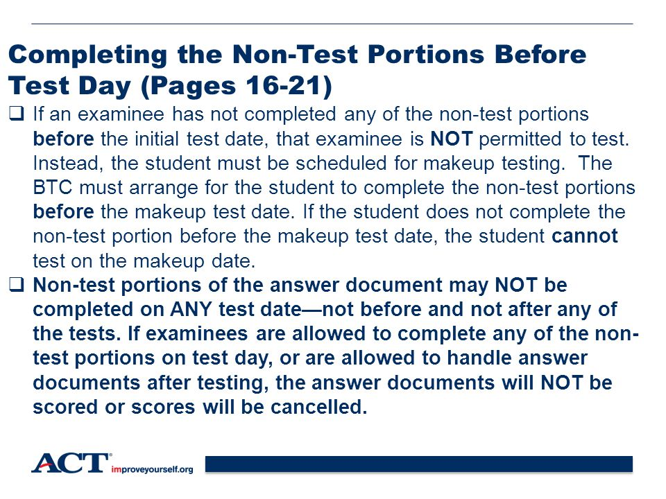 Completing the Non-Test Portions Before Test Day (Pages 16-21)
