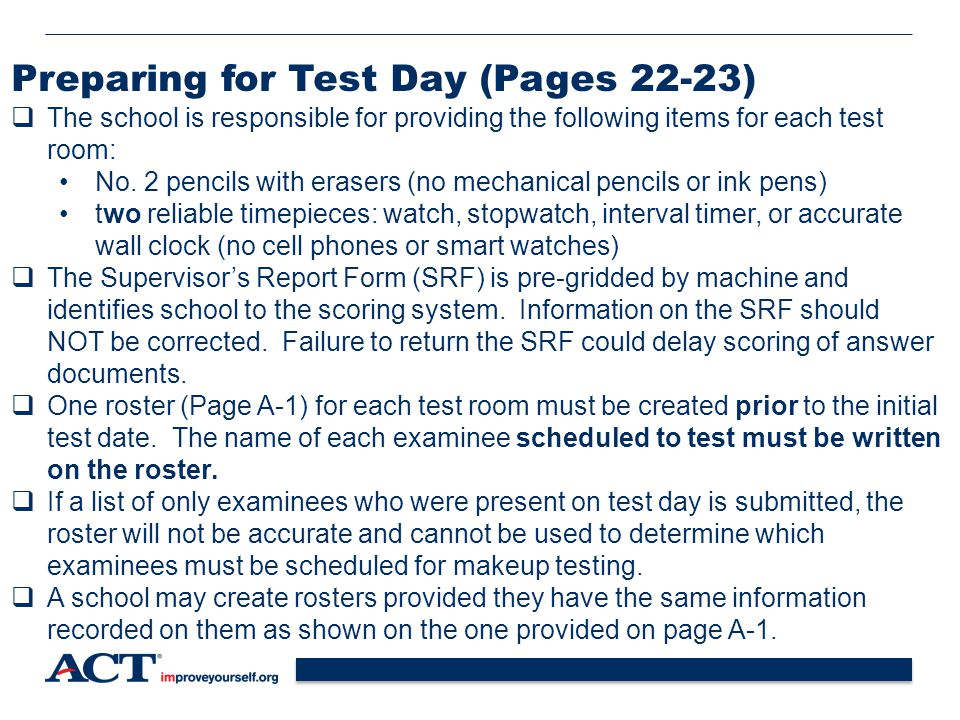 Preparing for Test Day (Pages 22-23)
