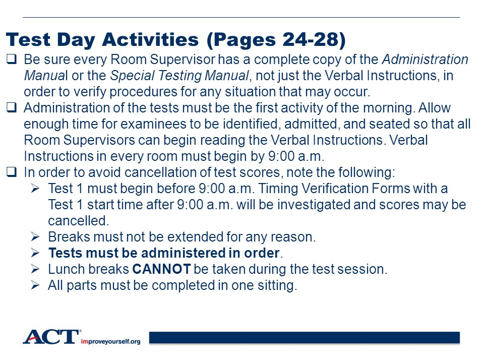 Test Day Activities (Pages 24-28)