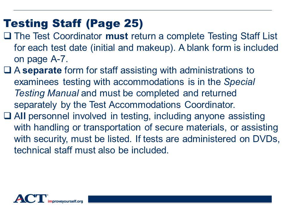 Testing Staff (Page 25)
