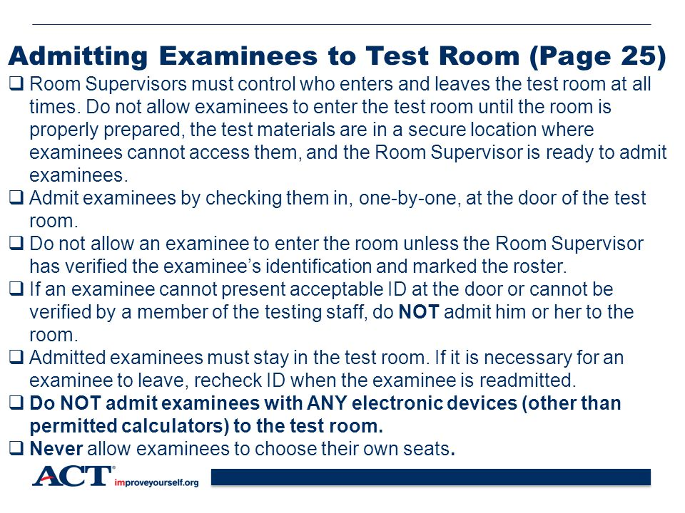 Admitting Examinees to Test Room (Page 25)