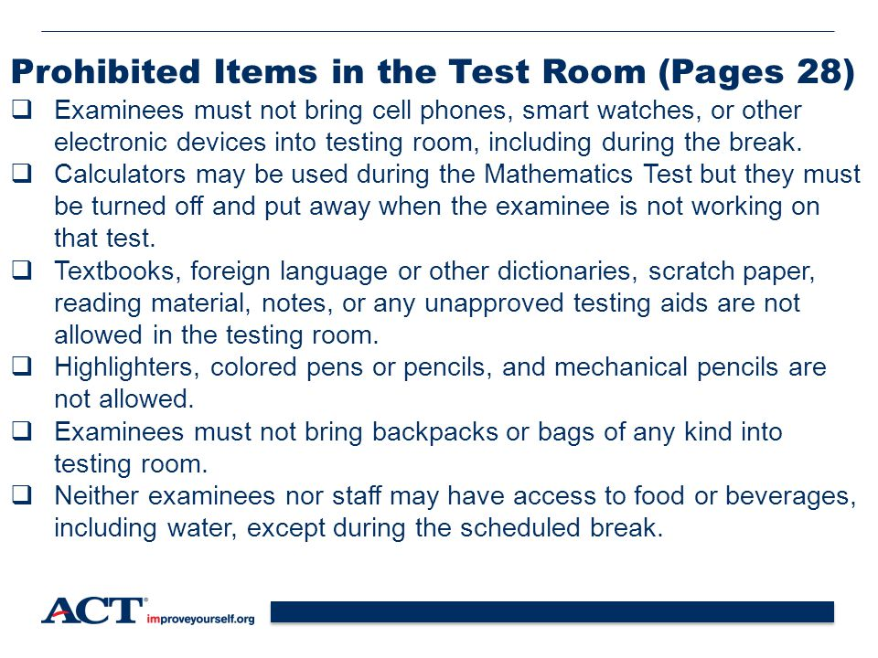Prohibited Items in the Test Room (Pages 28)
