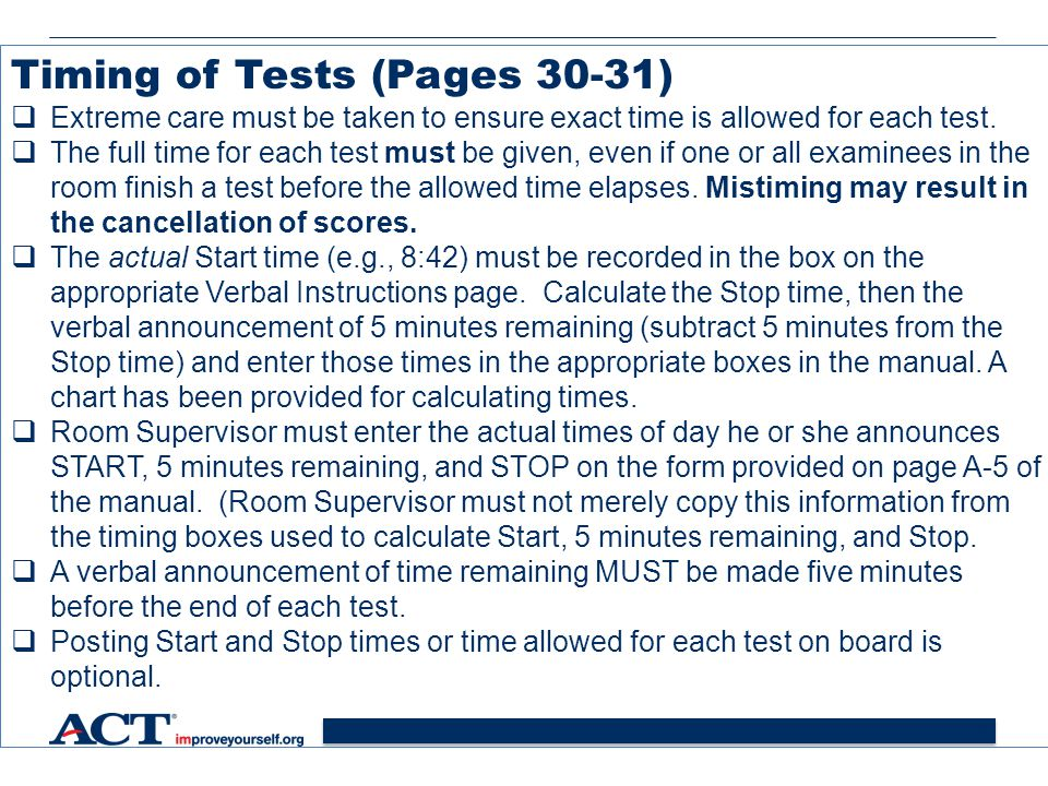 Timing of Tests (Pages 30-31)