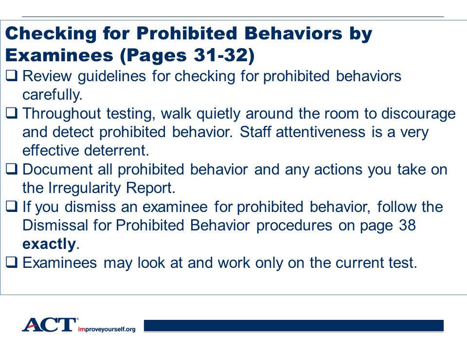 Checking for Prohibited Behaviors by Examinees (Pages 31-32)