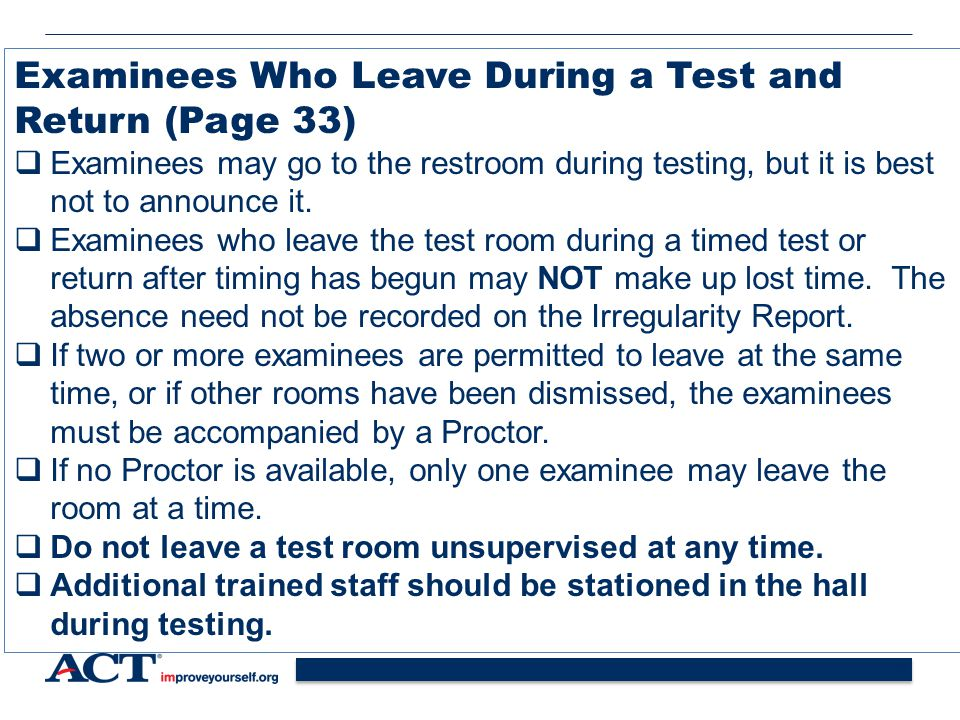 Examinees Who Leave During a Test and Return (Page 33)