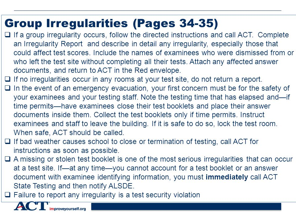Group Irregularities (Pages 34-35)