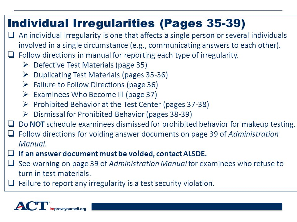 Individual Irregularities (Pages 35-39)