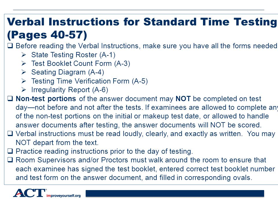 Verbal Instructions for Standard Time Testing (Pages 40-57)