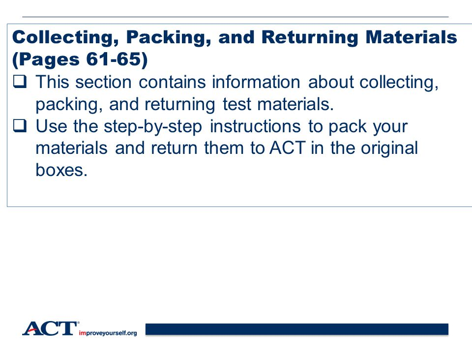 Collecting, Packing, and Returning Materials (Pages 61-65)