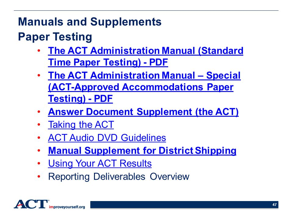 Manuals and Supplements Paper Testing