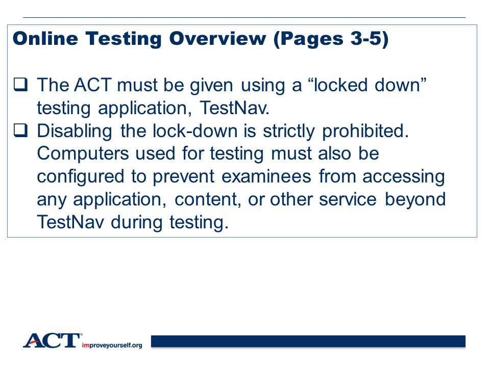 Online Testing Overview (Pages 3-5)