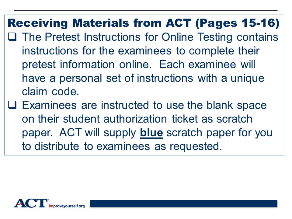 Receiving Materials from ACT (Pages 15-16)