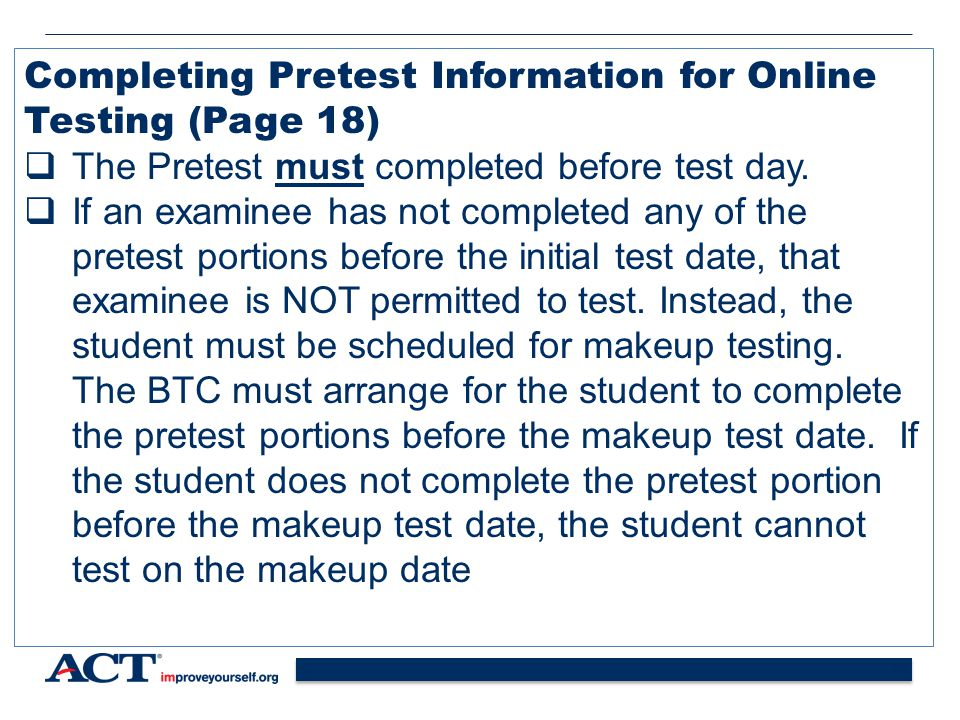 Completing Pretest Information for Online Testing (Page 18)