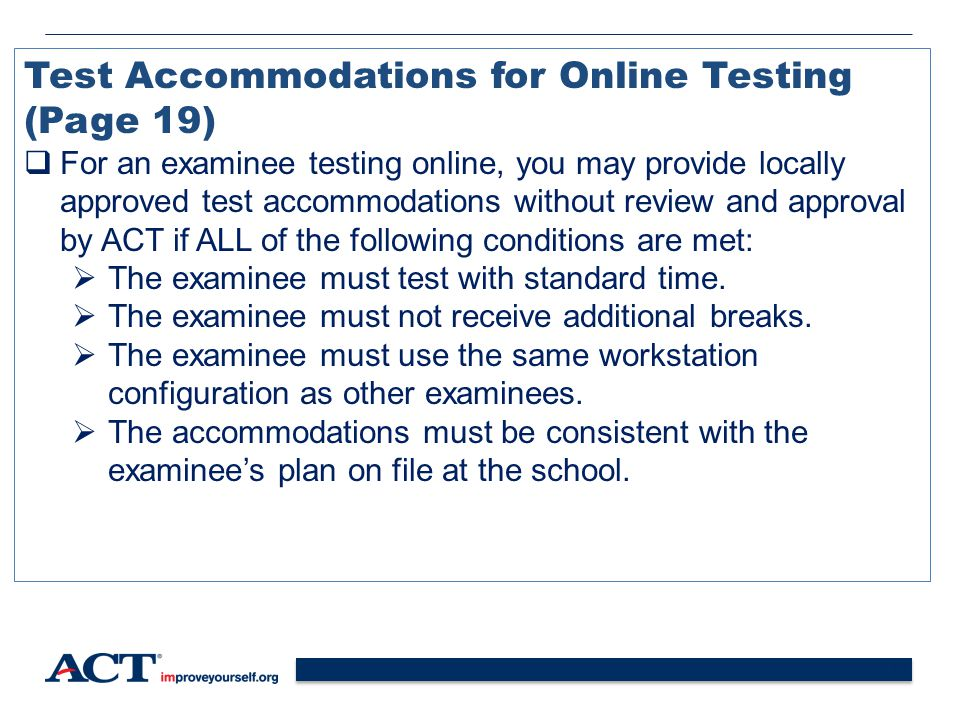 Test Accommodations for Online Testing (Page 19)