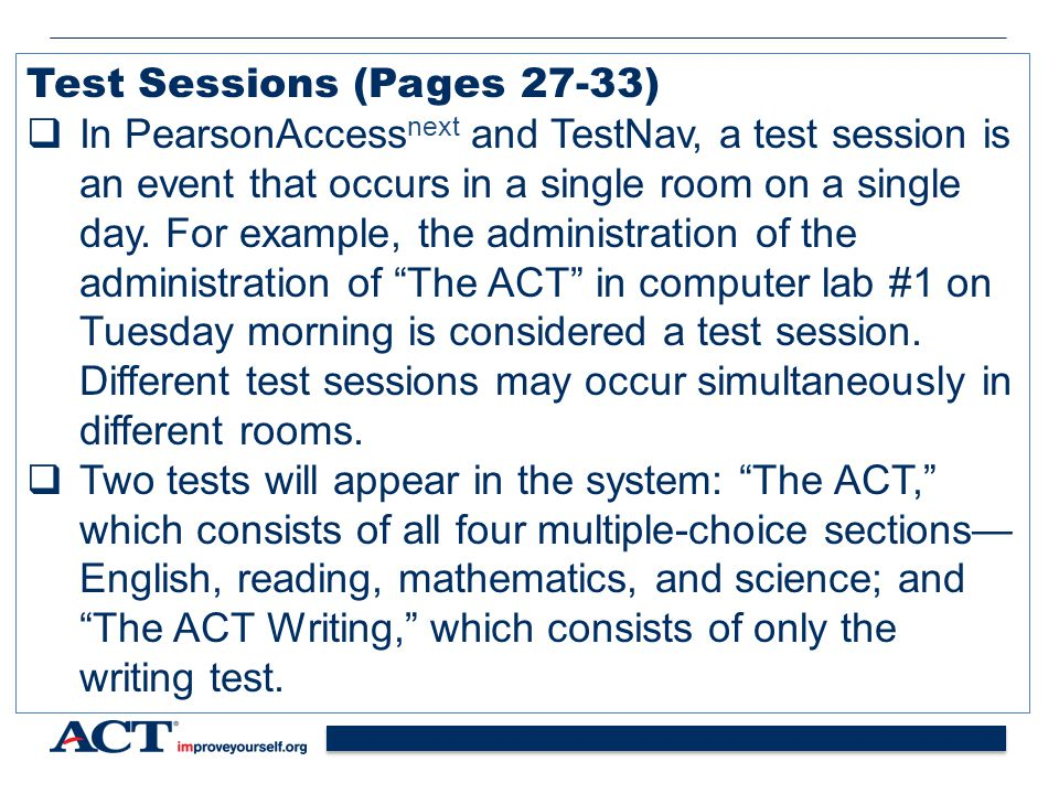Test Sessions (Pages 27-33)