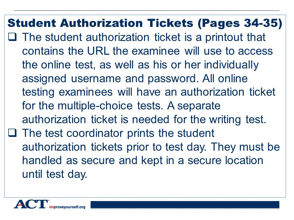Student Authorization Tickets (Pages 34-35)
