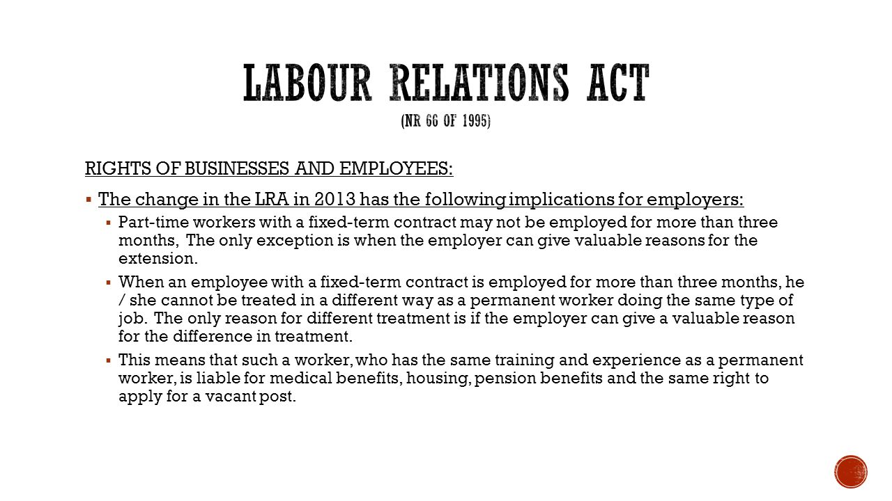 LABOUR RELATIONS ACT (nr 66 OF 1995)