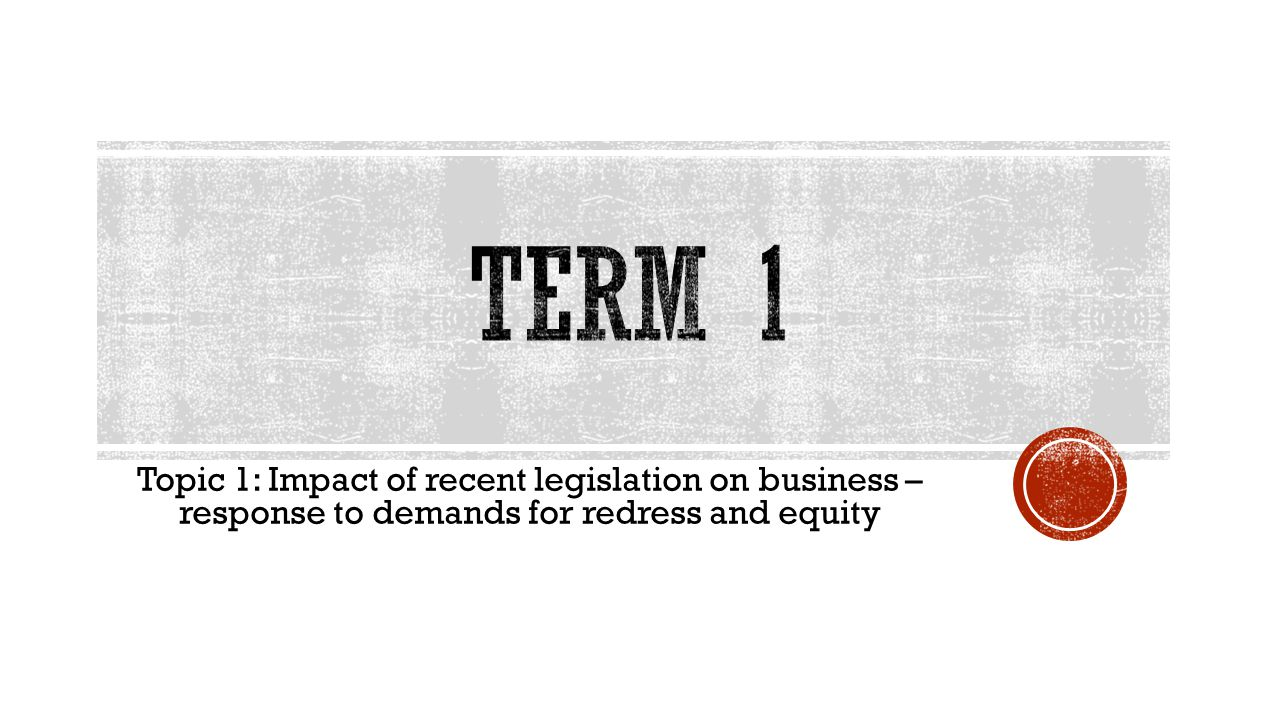 TERM 1 Topic 1: Impact of recent legislation on business – response to demands for redress and equity.