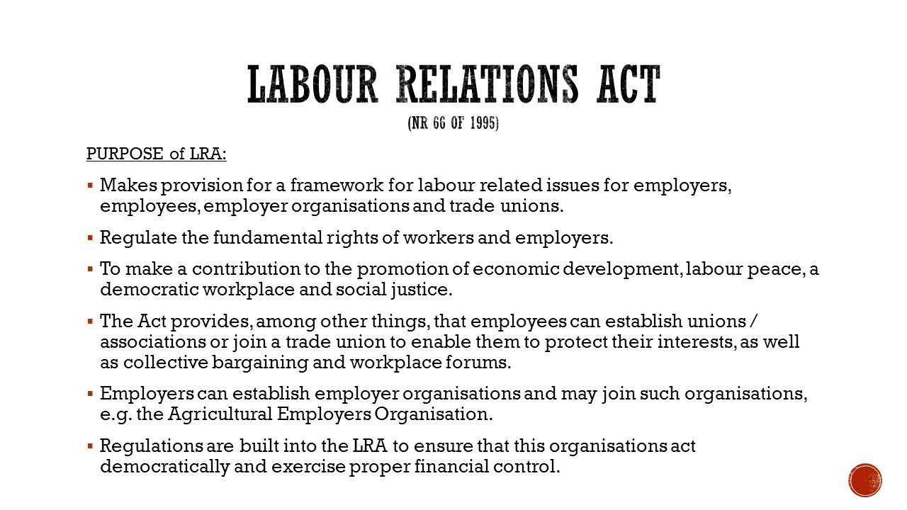 labour relation act assignement
